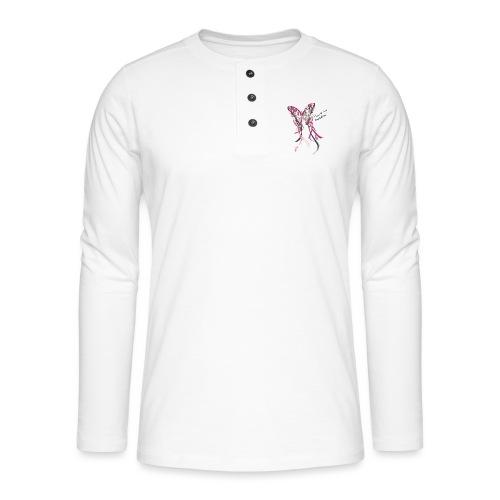 I love my soldier Butterfly3 pink dark - Henley Langarmshirt