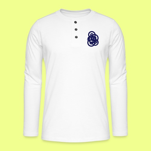 espirales azul - Camiseta panadera de manga larga Henley