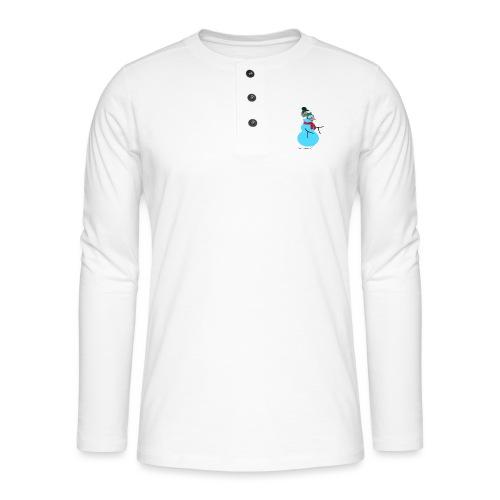 Snowboarding snowman - Henley pitkähihainen paita