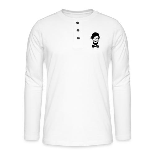 hipster_med_briller_og_butterfly - Henley T-shirt med lange ærmer