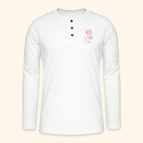Rose My Love - Mon Amour - Saint valentin - T-shirt manches longues Henley