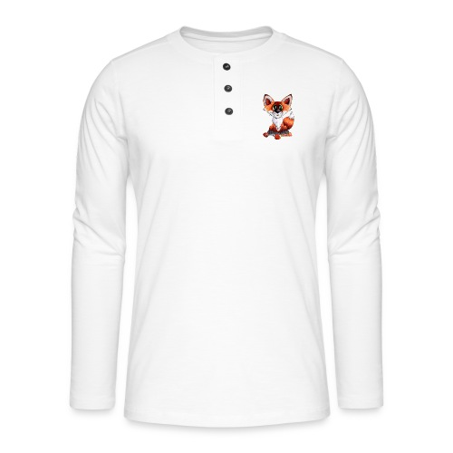 llwynogyn - a little red fox - Henley long-sleeved shirt