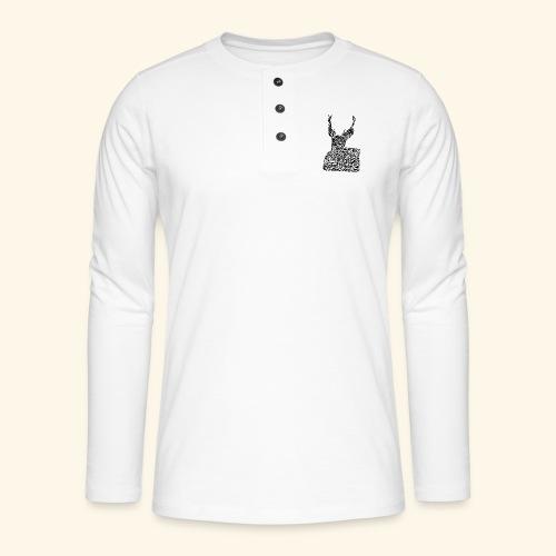 deer black and white - Henley pitkähihainen paita