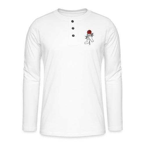 Fiore rosso - Maglia a manica lunga Henley