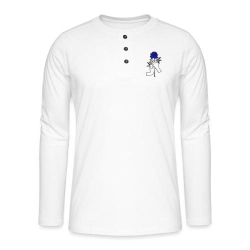 Fiore blu - Maglia a manica lunga Henley