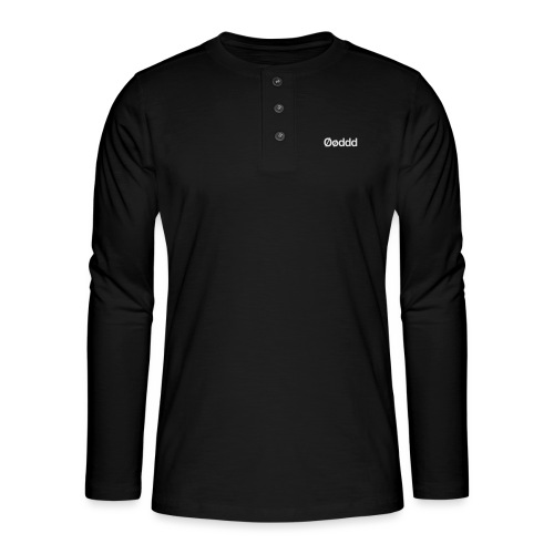 Øøddd (hvid skrift) - Henley T-shirt med lange ærmer