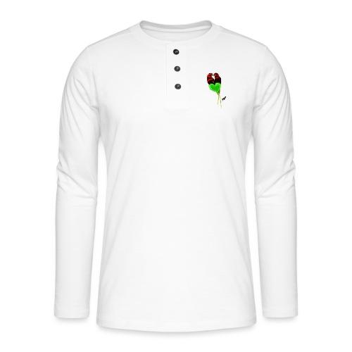 Lovebirds by BlackenedMoonArts, w. logo - Henley T-shirt med lange ærmer