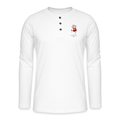 bloody hand diagonal with quote - Henley T-shirt med lange ærmer