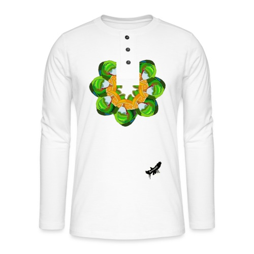 Parrot Pattern by BlackenedMoonArts, w. logo - Henley T-shirt med lange ærmer