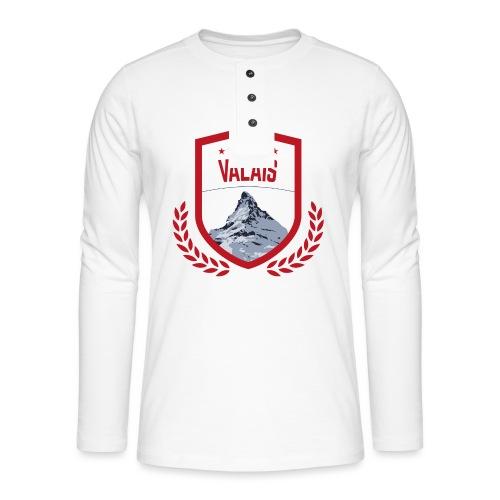 Walliser Logo mit dem Matterhorn - Henley Langarmshirt
