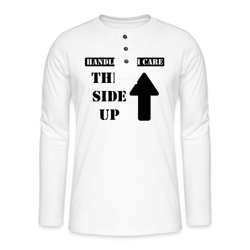 Handle with care / This side up - PrintShirt.at - Henley Langarmshirt