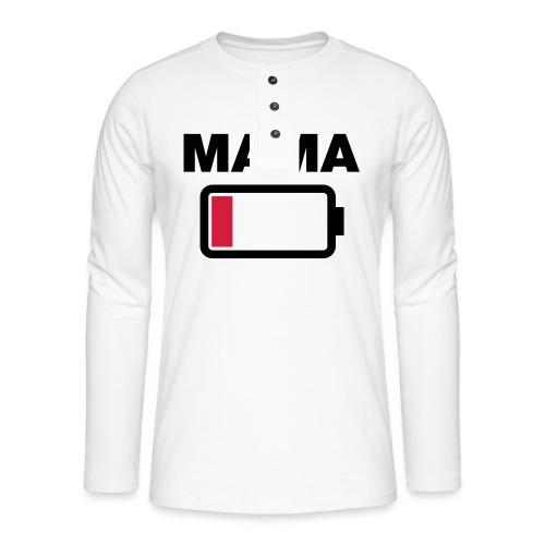 Batterij mama leeg - Henley shirt met lange mouwen