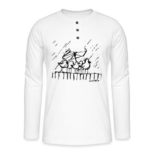 Wir stehen im Regen - Henley Langarmshirt