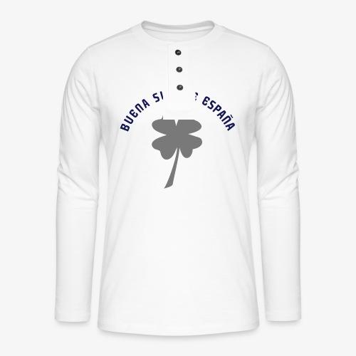 Buena suerte España - Camiseta panadera de manga larga Henley