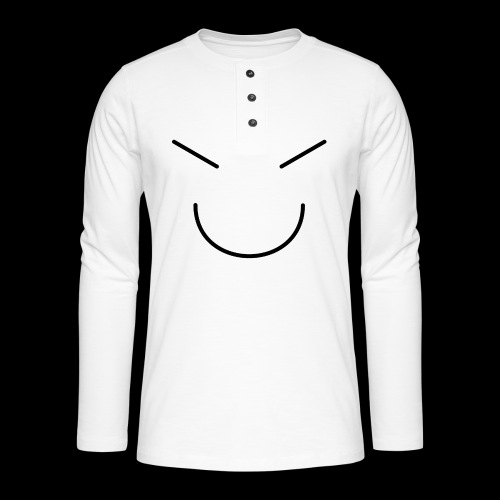 Gute Laune Schwarz - Henley Langarmshirt