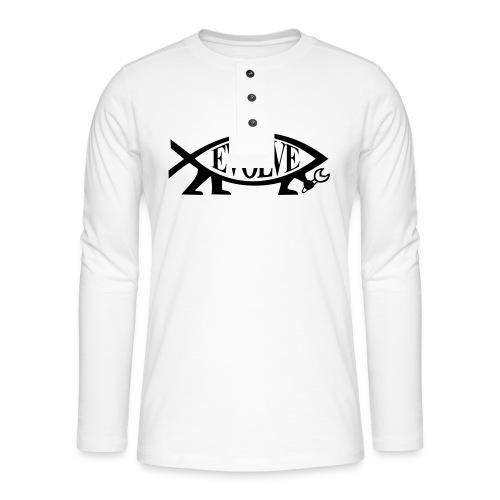 Navy Atheisten Darwin Fish Männer Langarm - Henley Langarmshirt