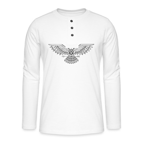 Grafische uil - Henley shirt met lange mouwen