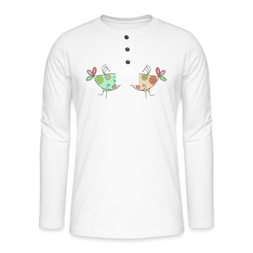 colourful birds in love - Henley long-sleeved shirt