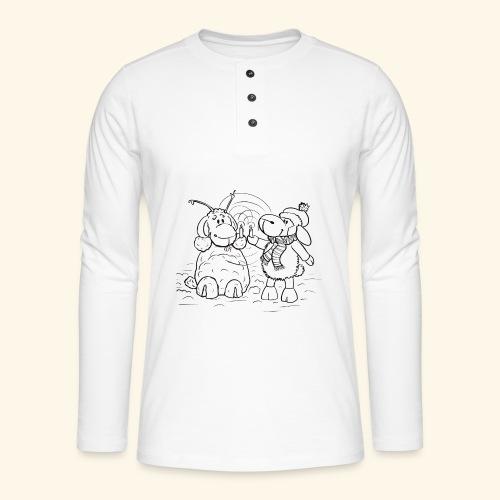 Schaf - Miss you schwarz - Henley Langarmshirt