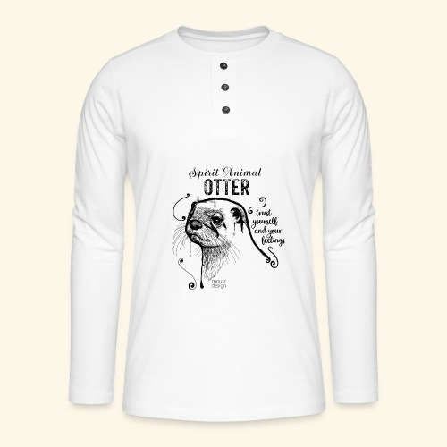 Spirit Animal Otter schwarz - Henley Langarmshirt