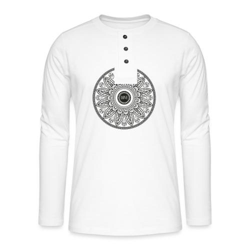 Mandala mit Schriftzug Love - Henley Langarmshirt