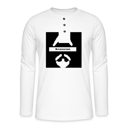 Biturzartmon Logo weiss/schwarz asiatisch - Henley Langarmshirt