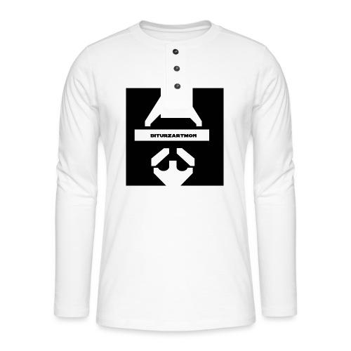 Biturzartmon Logo weiss/schwarz glatt - Henley Langarmshirt