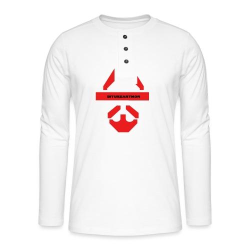Biturzartmon Logo rot glatt - Henley Langarmshirt