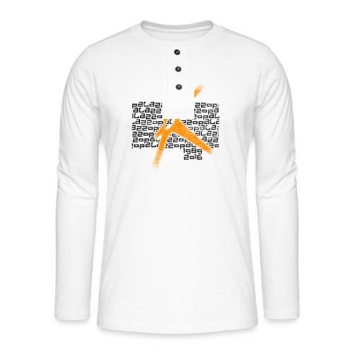 Palazzo Textblock auf weiss/on white - Henley Langarmshirt