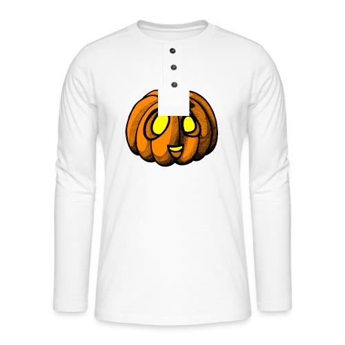 Pumpkin Halloween scribblesirii - Henley T-shirt med lange ærmer