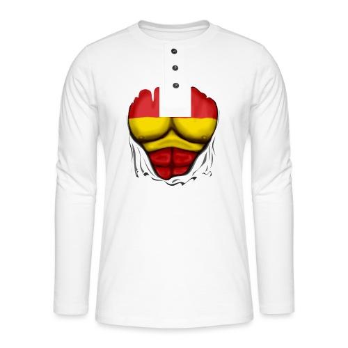 España Flag Ripped Muscles six pack chest t-shirt - Henley long-sleeved shirt