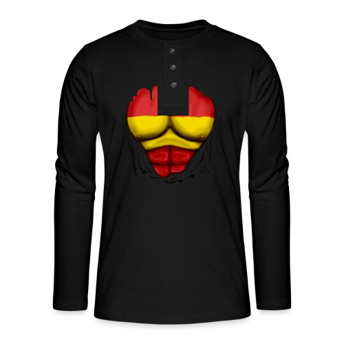 España Flag Ripped Muscles six pack chest t-shirt - Henley long-sleeved shirt