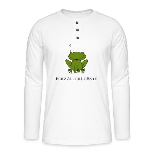 Froni mit Schriftzug Herzallerliebste (schwarz) - Henley Langarmshirt