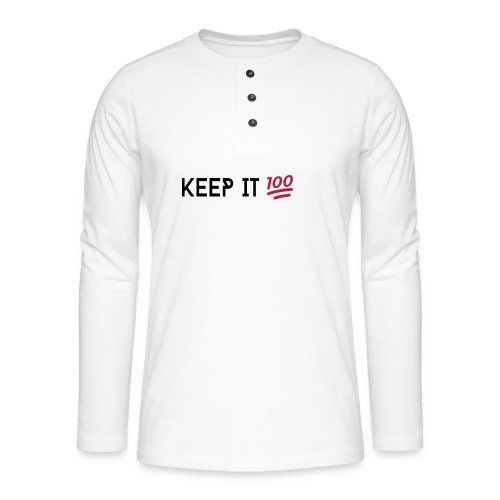 KEEP IT 100 ZWART png - Henley shirt met lange mouwen