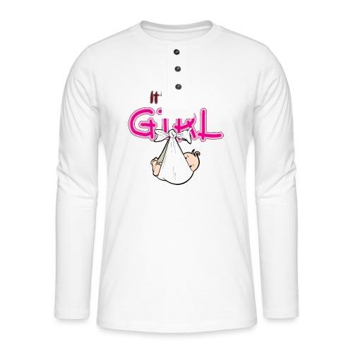 Babyshower It's a Girl - Henley shirt met lange mouwen