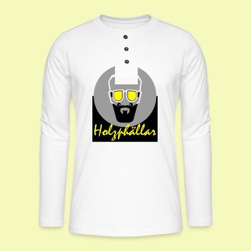 Schriftzug Grün - Henley Langarmshirt