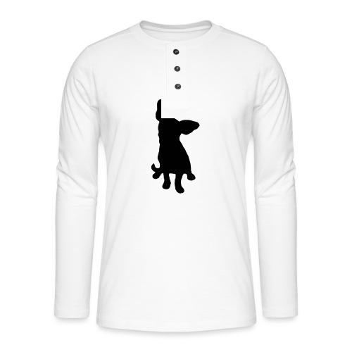 Chihuahua istuva musta - Henley pitkähihainen paita