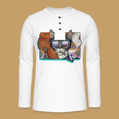 Crime Cat in Shades - Koszulka henley z długim rękawem