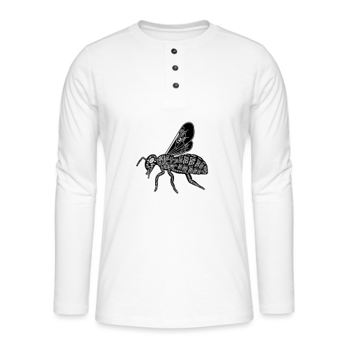 Skelett Biene - Henley shirt met lange mouwen