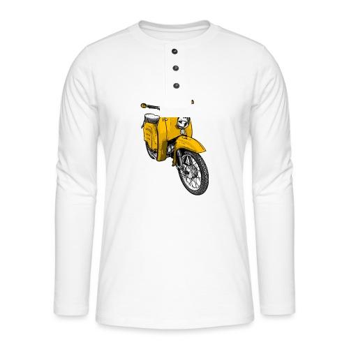 Schwalbenfahrer Shirt, gelbe Schwalbe - Henley Langarmshirt
