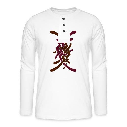 Stort logo på bryst - Henley T-shirt med lange ærmer