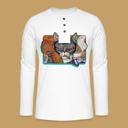 Crime Cat - Koszulka henley z długim rękawem