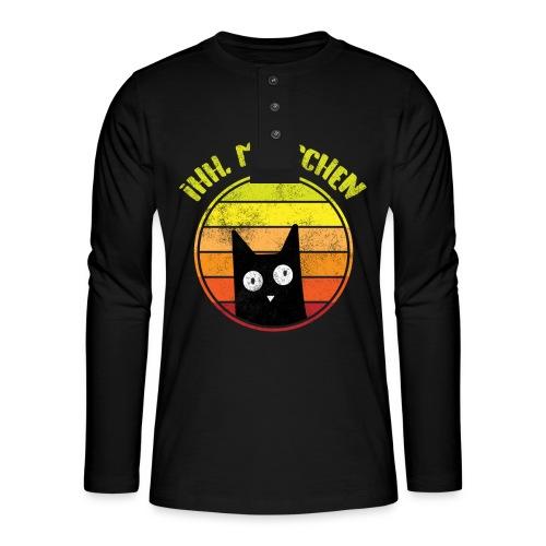 Ih, Menschen Lustiges Katzen Motiv - Henley Langarmshirt