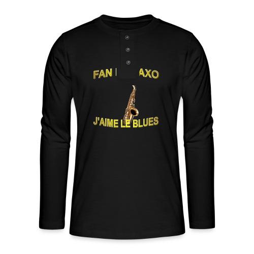 Tee-Shirt pour les fans de blues, et de saxo. - T-shirt manches longues Henley