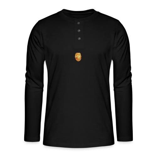 pinety logo print - Henley T-shirt med lange ærmer