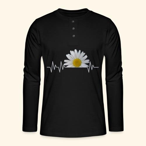 Margerite, Herzschlag, Gänseblümchen, Pulsschlag - Henley Langarmshirt