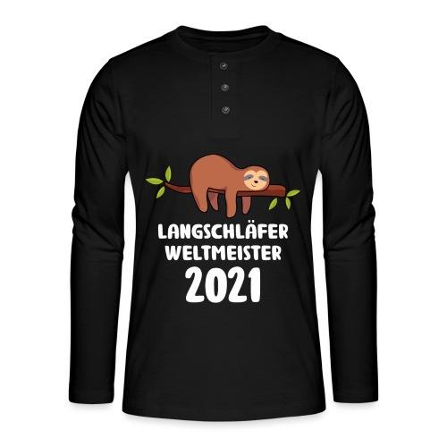 Faultier Spruch Schlafen Schlafshirt Geschenk - Henley Langarmshirt