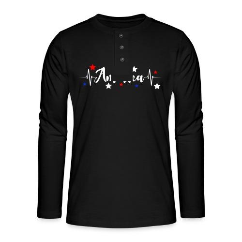 América 4th de Julio día de la Independencia E. U. - Camiseta panadera de manga larga Henley