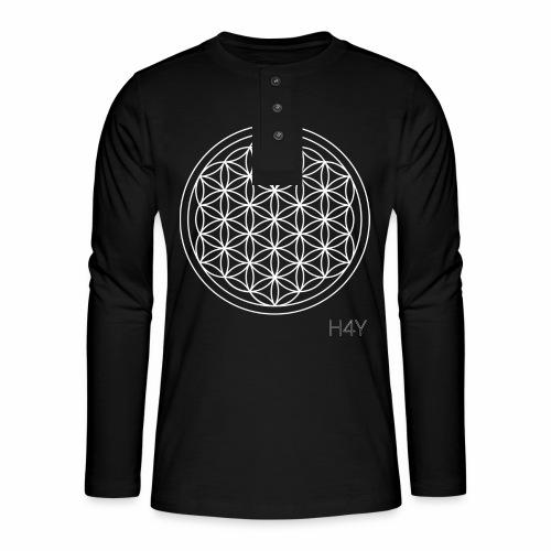 Flower Of Life - This Design Will Heal You - Henley T-shirt med lange ærmer
