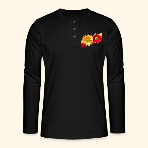 Blumen in den Farben rot und gelb, Blüten, floral - Henley Langarmshirt